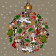 Vector de stock : Christmas ball made from decorations.