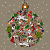 Christmas ball made from decorations. — Vector de stock