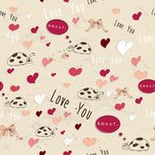 "Seamless texture with ""love"" elements. — Stockvector"