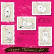 Vector de stock : Set of postage stamps about love.