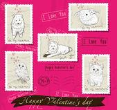 набор почтовых марок о любви. — Cтоковый вектор
