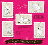 Set of postage stamps about love. — Vector de stock