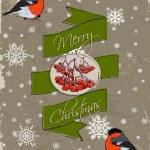 Christmas card with bullfinch. — Stock Vector