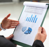 Accounting. Stock market graphs monitoring — Stock Photo