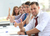 Businessteam with thumbs up — Foto Stock