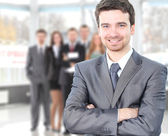 Hombre de negocios feliz guapo — Foto de Stock