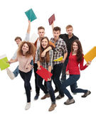 Group student with notebook isolated — Stock Photo
