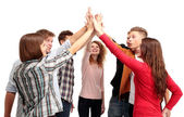 Successful business team celebrating their success with a high five — Stock Photo