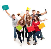 Group student with notebook — Stock Photo
