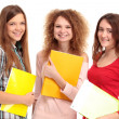 Three happy students standing together with fun — Stockfoto #19692111