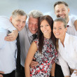 Closeup portrait of a successful business team laughing — Stock Photo