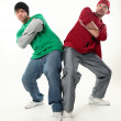 Two young cool boys, looking to camera studio photo — Stock Photo #20048789