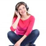 mulher com fones de ouvido, ouvindo música no player — Foto Stock