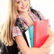 Nice female student smiling and looking at camera — Stock Photo #20093383