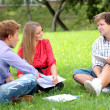 Стоковое фото: Happy group of students with a notebook smiling outdoors