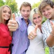 Happy group of students with thumbs up - outdoors — Stock Photo #20158737