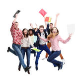 Group of happy young jumping — Foto de Stock