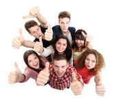Group of happy joyful friends standing with hands up isolated on white background — Stock Photo