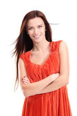 Portrait of beautiful young woman posing against white background — Stock Photo