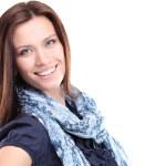 Retrato de mujer joven hermosa posando sobre fondo blanco — Foto de Stock   #22335763