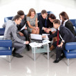 Top view of working business group sitting at table during corporate meeting — Stock Photo #22992206