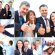 Collage of business partners in suits and symbols of unity — Stock Photo #23462682