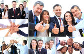 Collage of business partners in suits and symbols of unity — Stok fotoğraf