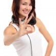 Portrait of a pretty young woman showing the okay sign — Stock Photo