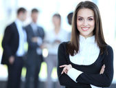 Face of beautiful woman on the background of business — Foto Stock