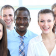 Stock Photo: Closeup portrait of a successful business team laughing together