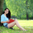 A portrait of a college student studying at campus — Stock Photo #30109437