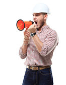 Business man shouting using megaphone isolated on white background — Stock Photo