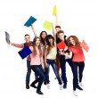 Students with notebook — Stock Photo