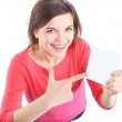 Showing sign woman — Stock Photo
