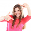 Woman showing fingers frame — Stockfoto