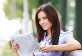 Business woman reading — Stock Photo