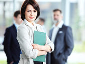 Businesswoman with her staff — Foto Stock