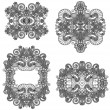 Four ornamental floral adornment - Stock Vector