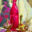 Original digital  still life with a bottle, candle and candlesti — Imagen vectorial