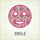 Pink ornamental pattern smile face silhouette — Stock Vector