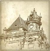 Tarihi bina taslak çizim — Stok Vektör