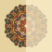 Cartão ornamentado com padrão floral ornamentais do círculo — Vetor de Stock