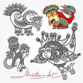 Ornate doodle fantasy monster personage — Stock Vector
