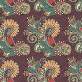 Seamless flower paisley design — Stock Vector