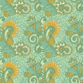 Diseño paisley inconsútil de la flor — Vector de stock