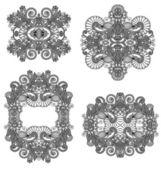 Cuatro adorno floral ornamental — Vector de stock
