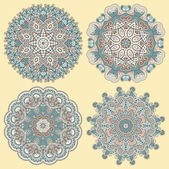 Circle ornament, ornamental round lace — Vector de stock
