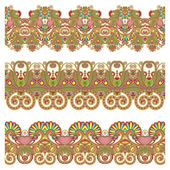 Collection of seamless ornamental floral stripes — Stock Vector