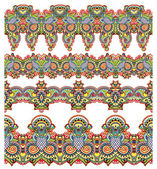 Collectie van naadloze decoratieve bloemen strepen — Stockvector