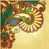 グランジ背景に花のデザイン — ストックベクタ